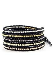 Chan Luu Mixed Nuggets Wrap Bracelet on Black Leather
