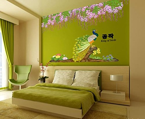 Green Title Peacock Flower Wall Sticker Mural Home Decal Removable Beauty Vinyl front-1066171