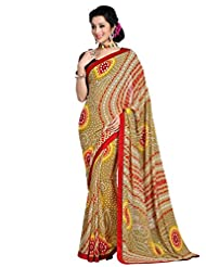 Shonaya Mehendi Colour Georgette Printed Sarees With Unstiched Blouse Piece