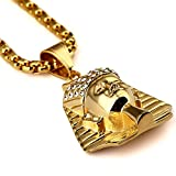 18K Or Titane Acier plaqué or Egypte Pharaon Roi Pendentif Colliers Mode Hip Hop