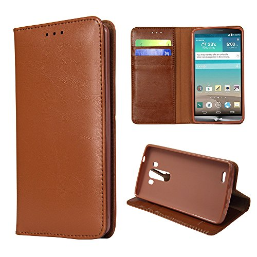 Ivapo Business Luxury Genuine Leather Wallet Design & Stand Function Soft Cover Case For Lg G3 (Mm453) (Brown)
