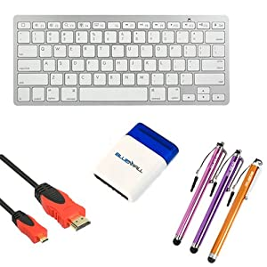 BIRUGEAR Silver Bluetooth Wireless Portable Keyboard + 10FT Micro-HDMI Cable + 3x Stylus with Flat Tip (Orange / Purple / Pink) for EVGA Tegra Note 7 (Package includes a Mini Brush)