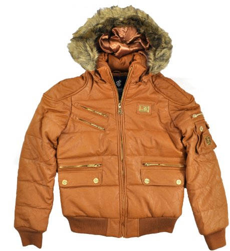 Rocawear Womens Bronze Pleather Bomber Outerwear Coat (Large)