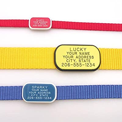 Collar Tag - Custom engraved rectangle pet ID tag - Perfect for Dogs or Cats - Durable and Silent - Attaches flat to any collar!
