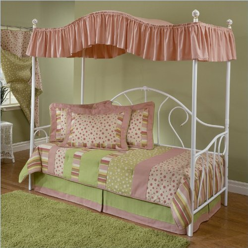 Hillsdale Bristol Girls Canopy Daybed in White Finish with Pop-Up Trundle