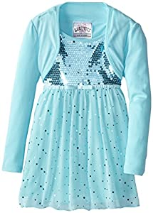 Beautees Little Girls' Sequin Shrug Tunic, Sea Turquoise, 5