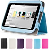 "GMYLE Aqua Blue PU Leather Slim Folio Magnetic Flip Stand Case Cover with Sleep/ Wake Function for Barnes & Noble Nook HD 7"" inches Tablet"