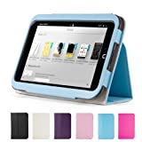 GMYLE(TM) Aqua Blue PU Leather Slim Folio Magnetic Flip Stand Case Cover with Sleep/ Wake Function for Barnes & Noble Nook HD 7
