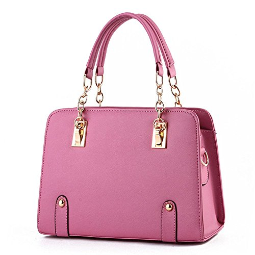 IMaySon(TM) Womens PU Leather Vintage Beauty Fashionable Tote Bags Top Handle Handbag(WaterPink)