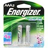 Energizer NH12BP-2 AAA Nickel Rechargeable Battery (2-Pack)