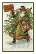 Counted Cross Stitch Chart Victorian Father Christmas Santa Naturalist with a Tree and Gingerbread