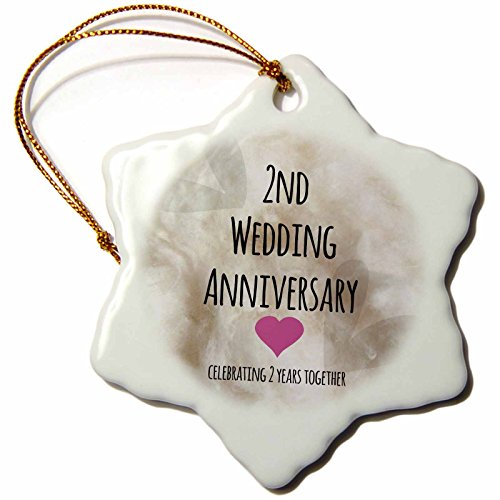 3dRose orn_154429_1 2nd Wedding Anniversary Gift Cotton Celebrating 2 ...