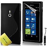 TPU Silikon Case Tasche Hülle Für Nokia Lumia 800 Etui Schutzhülle Schutzfolie, Reinigungstuch, Mini Eingabestift AOA CasesTM (Schwarz)