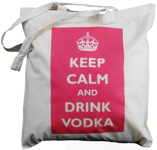 The Cotton Bag Store Ltd discount duty free Keep Calm and Drink Vodka (Red) - Natural Cotton Shoulder Bag