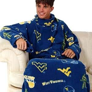 NCAA West Virginia Mountaineers Navy Blue Team Logo Print Unisex Snuggie Blanket