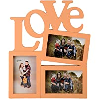 Priya Collections Glass 3-in-1 Collage Photo Frame With Frame (39 Cm X 33 Cm X 3 Cm, Orange)