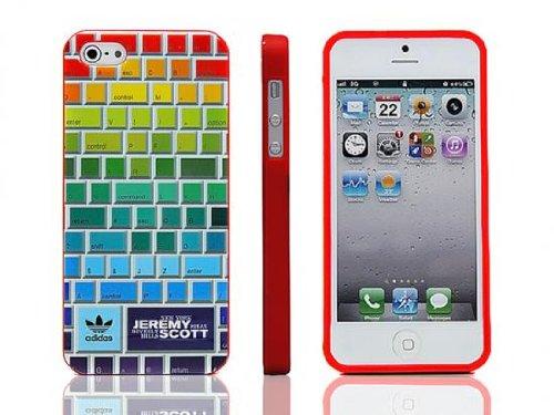 iPhone5 ケース adidas×JeremyScott アディダス×ジェレミースコットコラボケース カラーキーボードデザイン レッドフレーム