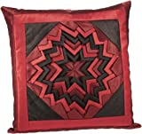 Shahenaz Home Shop Kyrah Surface Saga Poly Dupion Cushion Cover - Red and Brown