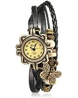 Montre Bracelet Papillon PU Cuir Quartz Classique Tressé Rétro Femme Mode Watch Noir