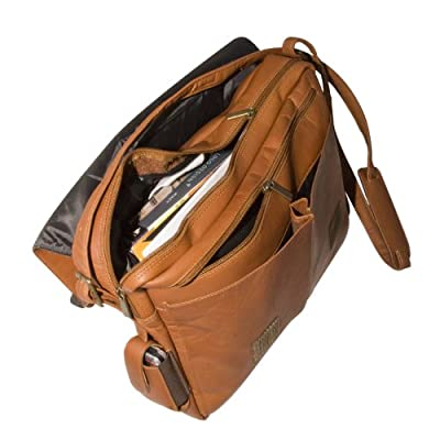 MLB Tan Leather Laptop Messenger Bag