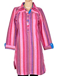 NAzAqAt Woolen Tweel Trouser Length Kurti Base Color Pink Self Stripes With Collar Kurti With Front Buttons.