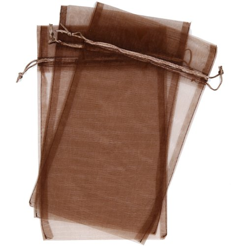"""30 Designer Organza Fabric Gift Bags And Gift Pouches Party Gift Bags Espresso Chestnut Brown 6.75"""" X 12"""""""