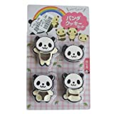 4 Pcs DIY Panda Food Deco Cutter And Stamp Kit Cookie Mold