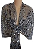Sheer Silver Sequin Fringed Evening Wrap Shawl for Prom Wedding Formal