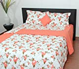 Thuhil home linen Springdrems 100% Cotton Printed Double Bedspread With 2 Pillow Covers-Super King Size,Camellia