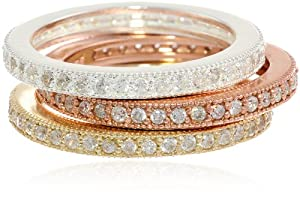 Rose Gold Plated, 18k Gold Plated and Sterling Silver Cubic-Zirconia Pave Band Three Stackable Ring Set, Size 6