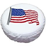 """Spare Tire Cover PVC Leather WaterProof Dust-proof Universal Spare Wheel Tire Cover White Star Fit for Jeep,Trailer, RV, SUV and Many Vehicle(14"""" for diameter 23""""-27"""")"""