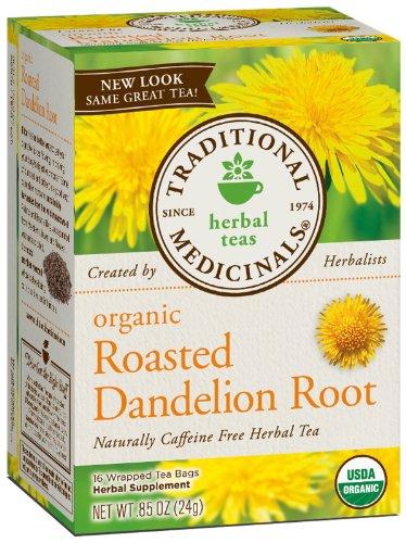 Traditional Medicinals Organic Roasted Dandelion Root Herbal Tea -- 16 Tea Bags
