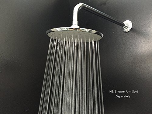Purelux 8 Inch Rainfall Fixed Mount Shower Head Set with 16 Inch Extra Long Stainless Steel Shower Arm, Brushed Nickel 5 YEAR WARRANTY Optional Fixed Arms
