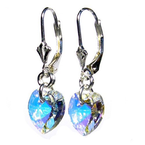 Crystal heart drops made with AB Swarovski crystal stones on Sterling Silver Lever back Earrings with gift box. Made in England. Beautiful jewellery for very special people.