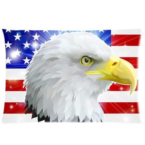 Butuku American Eagle Flag Custom Rectangle Soft Pillow Case Standard Size 20X30 front-856252