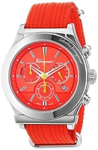 Salvatore Ferragamo Men's FF3040013 1898 Interchangeable Orange Yellow Canvas Strap Chronograph Date Watch by Salvatore Ferragamo