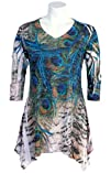 Jess and Jane 8220Blue Peacock Sublimation Tunic with Subtle