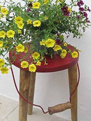 Melkschemel Blech Hocker rot Retro Vintage Stuhl to go mit Griff ca. 47 cm hoch von Unbekannt auf Gartenmöbel von Du und Dein Garten