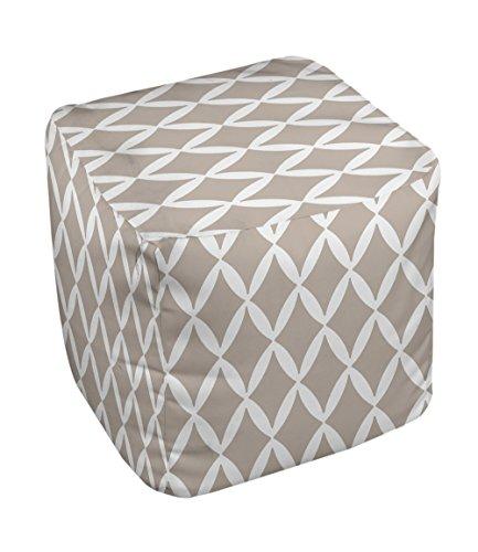 E by design FG-N1A-Flax-18 Geometric Pouf - 1