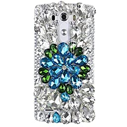 LG G4 Bling Case - Fairy Art Luxury 3D Sparkle Series Rhinestone Flower Crystal Design Back Cover with Soft Wallet Purse Red Cloth Pouch - Blue