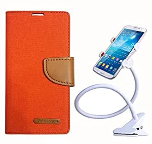 Aart Fancy Wallet Dairy Jeans Flip Case Cover for Orangemi2S (Orange) + 360 Rotating Bed Moblie Phone Holder Universal Car Holder Stand Lazy Bed Desktop by Aart store.