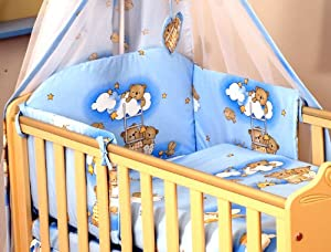 10 PCS BEDDING SET BABY COT / COT BED COT QUILT DUVET BUMPER CANOPY +HOLDER (to fit cot size 120x60cm, Ladders- Blue)