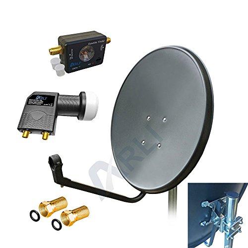 60 cm HD Sat Anlage Digitale GRAU Twin LNB SATFINDER 2 Teilnehmer Antenne Spiegel 4K