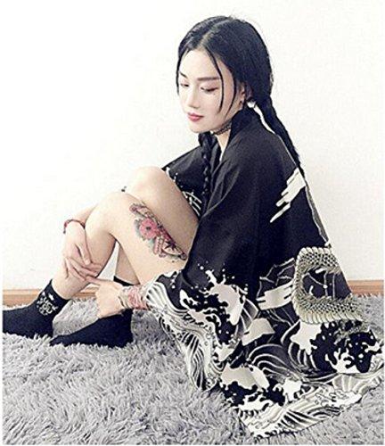 Fuji Japanese Kimono Style Happi Coat Black Anime Cosplay