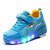 TeraSeven Unisex LED light Heelys shoes child single boy and girl adult rolls Kids Adjustable Skates and Rollerblades Inline Skates