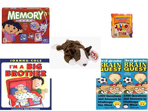 Children's Gift Bundle - Ages 3-5 [5 Piece] - Dora the Explorer Edition Memory Game - Jell-O Alphabet Jigglers Molds - Ty Beanie Baby - Bruno the Dog - I'm a Big BrotherHardcover Book - Brain Ques (Brain Quest Grade 4 3rd Edition compare prices)
