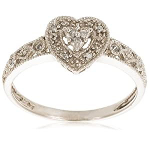 10k White Gold Diamond Heart Ring (.04 cttw, I-J Color, I2-I3 Clarity)