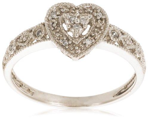 10k White Gold Diamond Heart Ring (.04 cttw, I-J Color, I2-I3 Clarity), Size 7