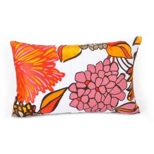 Trina Turk Peacock Punch Flowers Embroidered Decorative Pillow, 20 By 12-Inch, Orange front-1042592
