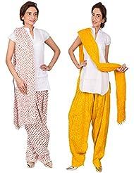 Womens Cottage Combo Pack Of 2 Printed Cotton Semi Patiala & Cotton Dupatta With Lace Set - B01G1GJBOC